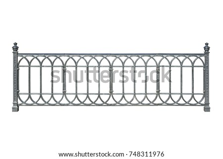 Decorative cast railings, fence in ancient style. Isolated on white background.