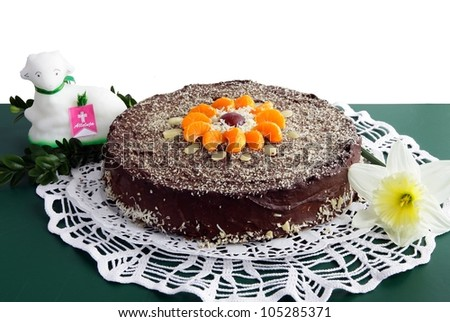 decorative cheese cake with chocolate cover for Easter holidays