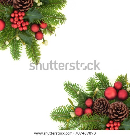 Decorative christmas background border with holly ivy, mistletoe, fir, red bauble decorations and pine cones on white. #707489893