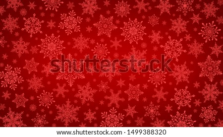 Decorative Christmas background with bokeh lights and snowflakes. Christmas and Happy New Year red background with snowflake.