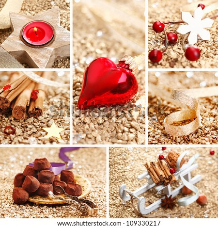 Decorative Christmas collage with spices, decorations, handmade chocolates and a red heart on a textured golden background for your greeting card or invitation