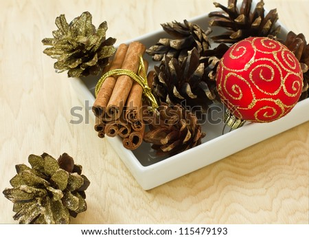 Decorative christmas composition on wooden  background
