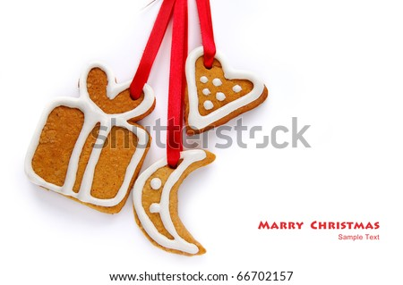 Decorative Christmas cookies on a white background
