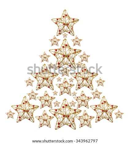 Decorative christmas stars shaped as christmas tree on white background
