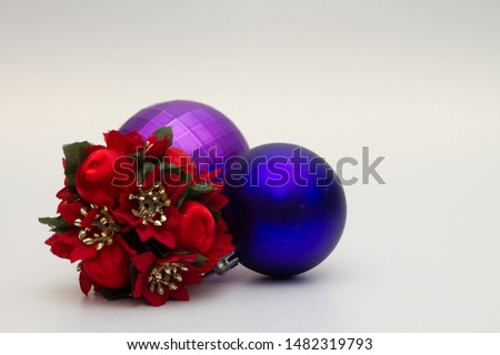 Decorative Christmas tree baubles on white background #1482319793