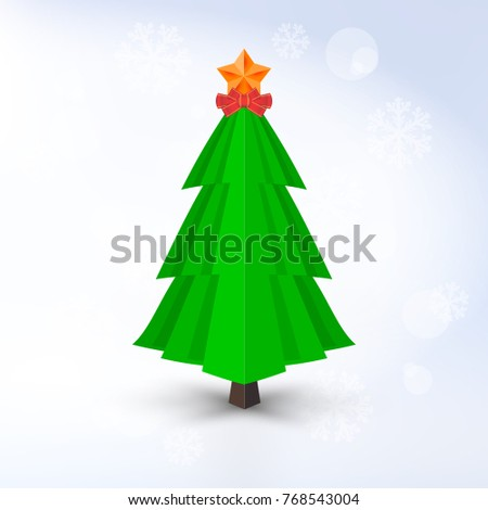 Decorative Christmas Tree with Golden Star and Red Bow on Light Background. Barely Distinguishable Snowflakes.