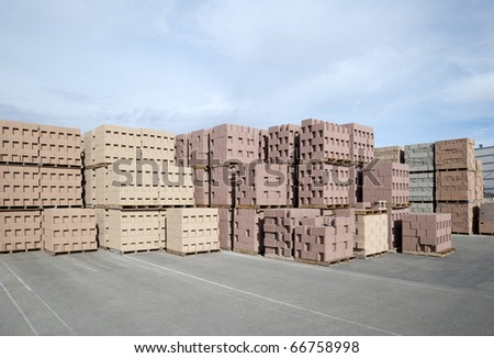 Decorative cinderblocks waiting for delivery