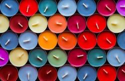 Decorative Colored Tea Candles, Various Colors, Top View
