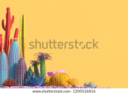 Decorative composition of groups of different species of multicolored cacti on yellow background. Contemporary art. Сopy space. 3D rendering.