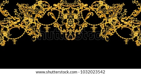 Decorative composition with golden scrolls and floral elements