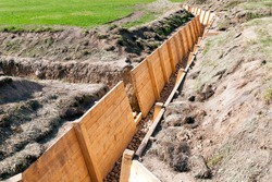 decorative construction in the trenches for easy movement in the trenches and protection of people in the trenches from falling ground, modern reconstruction of some trenches used in the  World War