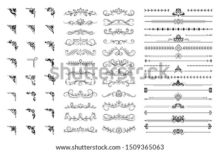 Decorative corners and dividers. Ornamental curls border, royal ornaments and vintage filigree ornament corner. Wedding motifs corners, royal floral borders.  illustration isolated symbols set