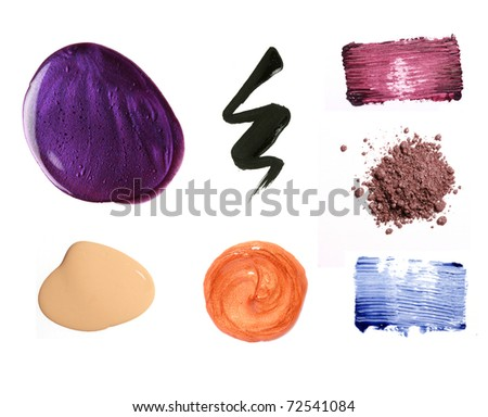 Decorative cosmetic product samples isolated on white.
