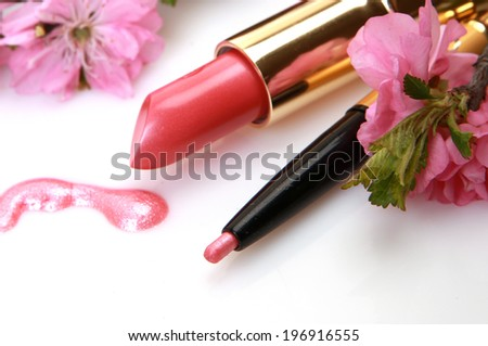 Decorative cosmetics and flowers