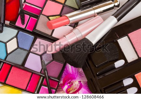 Decorative cosmetics  - eye shadows, lipsticks, mascara