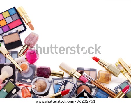 Decorative cosmetics for makeup. Copy space.