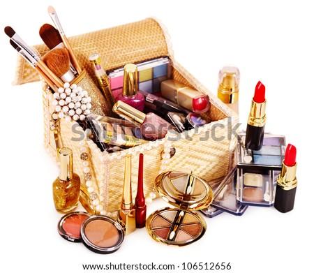 Decorative cosmetics in makeup box.