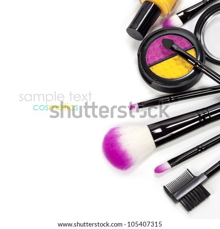 Decorative cosmetics isolated over white