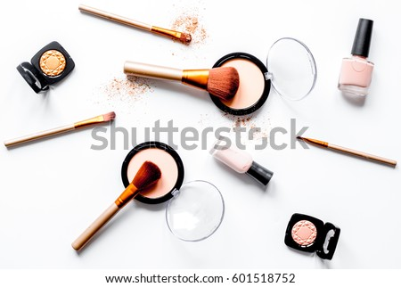 decorative cosmetics nude on white background top view #601518752