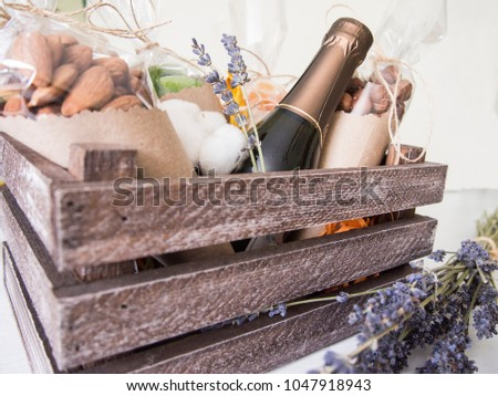 decorative crate with nuts, dried fruits, cotton and lavender Stock photo ©