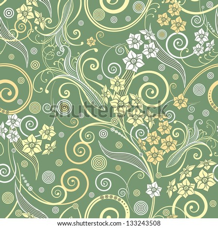 decorative curly seamless background with flowers and leaves
