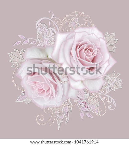 Decorative decoration, paisley element, delicate textured silver leaves made of fine lace and pearls. Jeweled shiny curls, thread from beads, bud pastel pink rose. Openwork weaving delicate