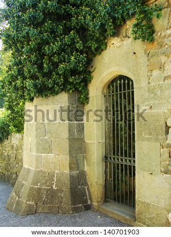 Decorative door, Vorontsov palace walls, Alupka, Crimea, Ukraine - stock photo