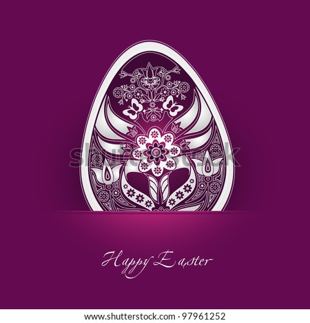 decorative easter egg label with cyclamen background