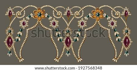 Decorative elegant luxury design.Design for cover, fabric, textile, wrapping paper .Vintage jewelry illustration.