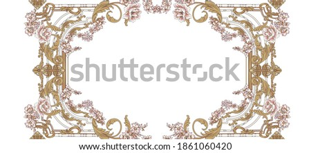 Decorative elegant luxury design.Vintage elements in baroque, rococo style.Digital painting.Design for cover, fabric, textile, wrapping paper . Сток-фото ©