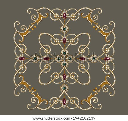 Decorative elegant luxury design.Vintage elements in baroque, rococo style.Digital painting.Design for cover, fabric, textile, wrapping paper .