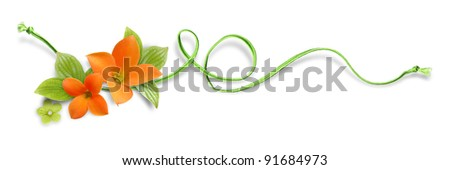 Decorative element with orange flowers and green rope - stock photo