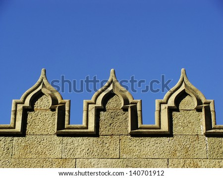 Decorative elements of stone wall, Vorontsov palace, Alupka, Crimea, Ukraine