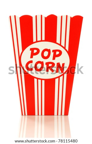 decorative empty  paper popcorn cup on a white background