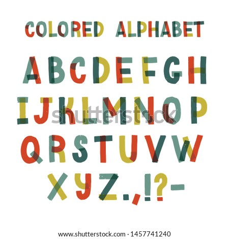 Decorative english alphabet made of colorful adhesive tape. Set of bright colored stylized letters arranged in alphabetical order and isolated on white background. illustration.