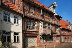 Decorative façade of a half-timbered house, former brewery, from 1593, historic centre, Lüneburg, Lower Saxony, Germany