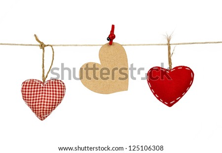 decorative fabric hearts for Valentines day
