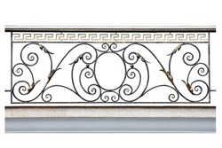 Decorative  fence of the balcony, gallery in old-time stiletto. Isolated over white background.