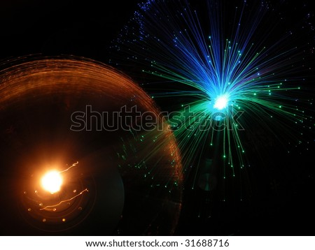 Decorative Glass Lamp Shades on Decorative Fiber Glass Lamps   Optic Lights Stock Photo 31688716