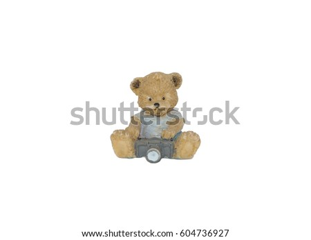 Decorative figur, statuette of bear, accessories for an interior, isolated white background #604736927
