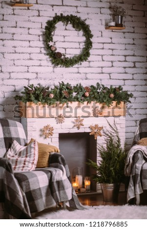 Free Photos Christmas Wreath On White Brick Wall Background Avopixcom