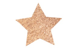 Decorative five-pointed star made of cardboard decorated with gold rhinestones on isolated background