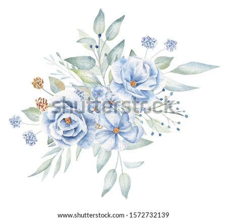 Decorative flax bouquet hand drawn aquarelle illustration. Floral composition watercolor drawing. Aquarelle linen bourgeons and leaves, flourish boutonniere isolated on white background Photo stock ©