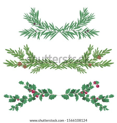 Decorative Floral Christmas Dividers  Fir and holly Branches. Holly berry, pine branch and cones. Decoration for traditional wreath on door to Christmas, New year. For greeting card, vignette, banner.