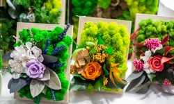 Decorative floristic arrangement of artificial flowers and stabilized moss, soft focus, selective focus.