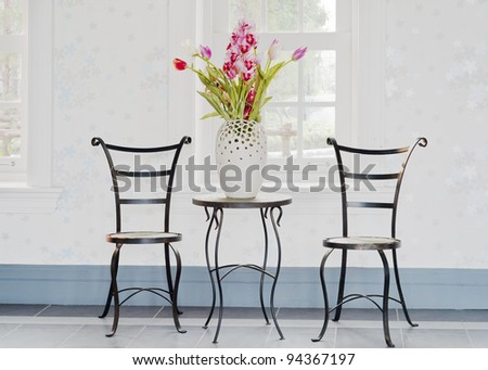 decorative flower on table ,room interior