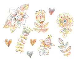 decorative flowers hand drawn with colored pencils on paper