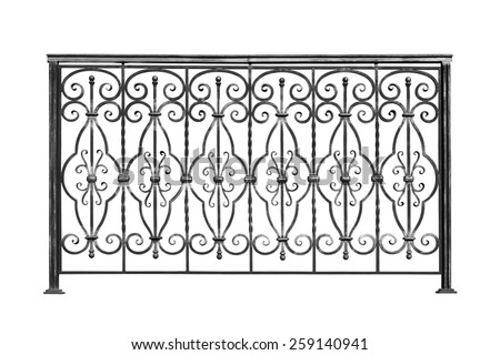Decorative, forged  banisters, fence  in old  stiletto. Isolated over white background.