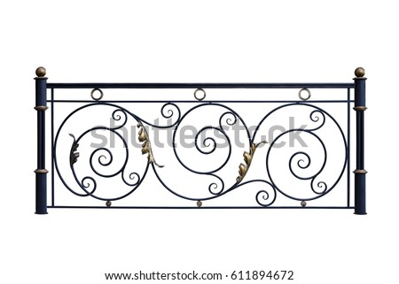 Decorative, forged  banisters, fence  in old   style. Isolated over white background.