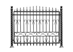 Decorative, forged  barrier, fence  in old  stiletto. Isolated over white background.